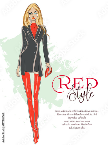 Beautiful Fashion Girl With Red Style Logo And Advertising Text Template Runway Show Sexy Blonde Woman Wearing Hessian Boots Sale Shopping Banner Model Sketch Hand Drawn Vector Illustration Buy This Stock