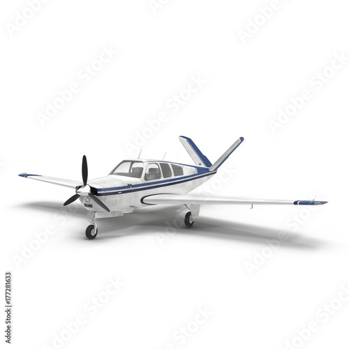 small propeller airplane isolated on white. 3D illustration Wall mural