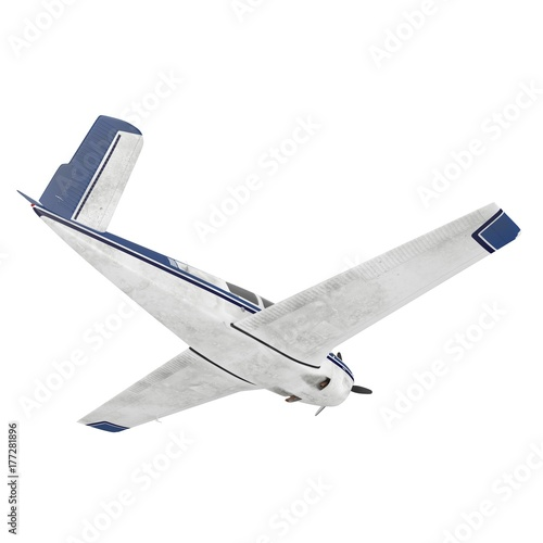 Plakat Mały pasażerski śmigłowy samolot odizolowywający na bielu. 3D ilustracji