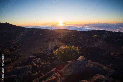 Fototapeta Kilauea wulkanu krater gdy je przy zmierzchem w Hawaje wulkanu parku narodowym, Duża wyspa, Hawaje, usa