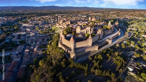 Vue spectaculaire de la cité de Carcassonne et son chateau Canvas Print