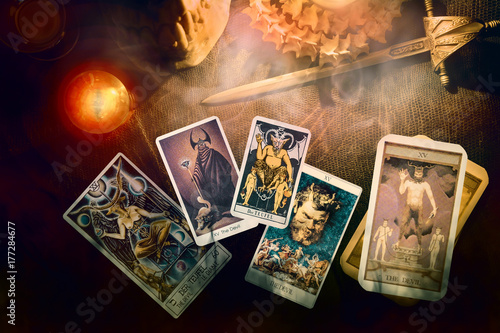 Tarot card / View of tarot card on the table. The Devil.