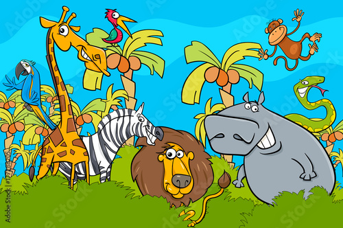 cartoon safari wild animal characters group
