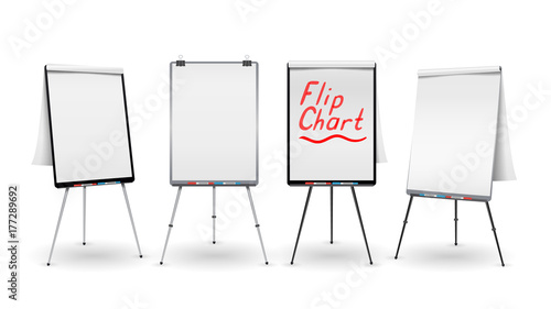 Flip Chart Set Vector. Office Whiteboard For Business Training. Blank Sheet Of Paper On a Tripod. Presentation Stand Board. White Clean Epty Paper. Isolated Illustration