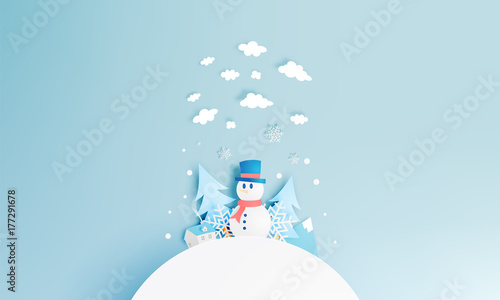 Fotobehang Lichtblauw Snowman and Winter landscape with paper art style and pastel color scheme