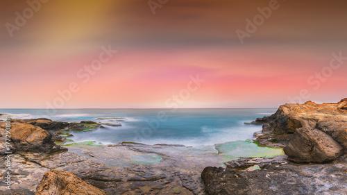 Rocks on coast with horizon, Spain