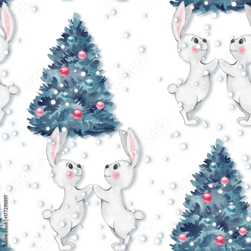 Christmas pattern. Watercolor seamless pattern with bunny 3