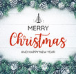 .MERRY CHRISTMAS AND HAPPY NEW YEAR typography,text with christmas ornament decoration
