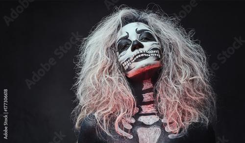 Ingelijste posters Halloween Halloween female skull makeup.