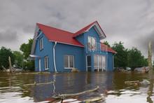 3d Render Of A Flooding Blue H...