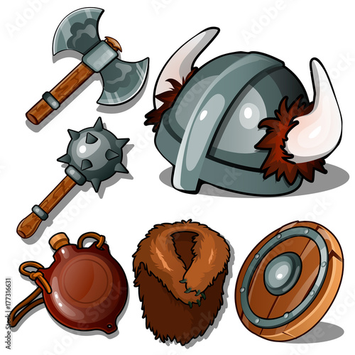 b082390d94c3 Mace, axe, helmet with horns, flask, fur coat and tambourine. Six icons  isolated on white background. Vector illustration in cartoon style