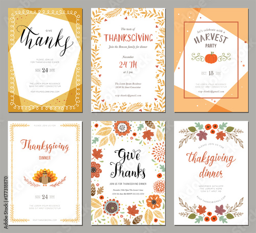 Thanksgiving greeting cards and invitations. - 177318870