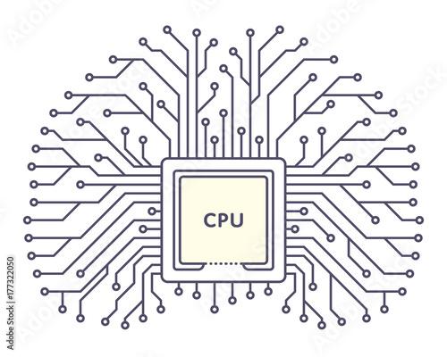 Microchip icon monochrome silhouette on white background