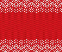 Knit Christmas Geometric Ornament Design With Empty Space For Text. Xmas Seamless Pattern.