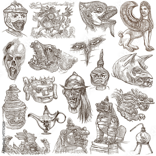 Photo  monsters - an hand drawn collection. Myths. Horror.