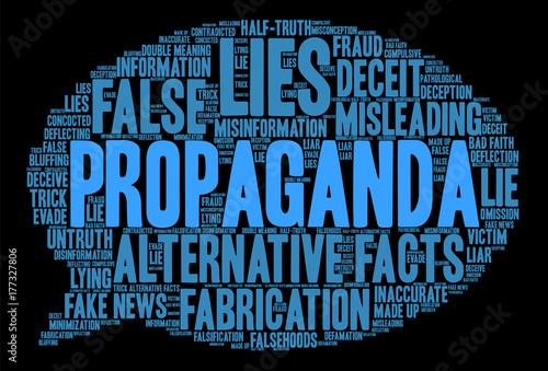 Papel de parede Propaganda Word Cloud on a black background.