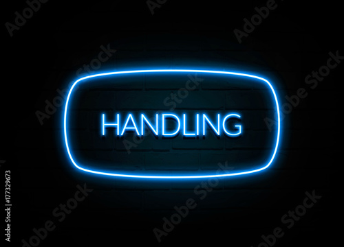 Fotografie, Obraz  Handling  - colorful Neon Sign on brickwall