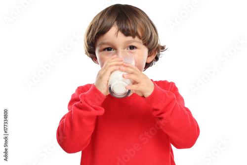 Fototapeta Dziecko pije dojnego szkła zdrowego jedzenie ciie out odizolowywającego