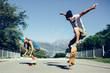 Guys skateboarding