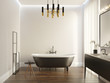Leinwanddruck Bild Black and white modern luxury bathroom