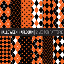 Halloween Harlequin Vector Patterns In Orange And Black Argyle, Diamond, Checkers, Chevron And Stars. Pattern Swatches Made With Global Colors.