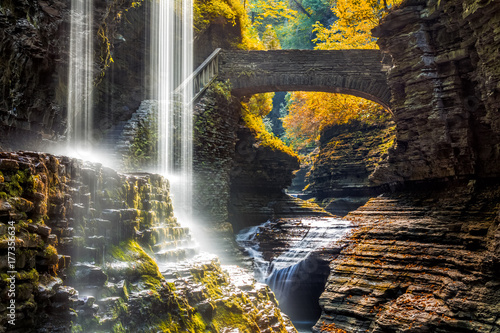 Photo Stands Waterfalls Watkins Glen State Park waterfall canyon in Upstate New York
