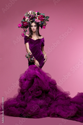 Foto op Plexiglas Art Studio Girl, model in a beautiful image with a wreath of flowers on her head in a photo studio. Fashion, style, beauty, portrait.