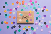 Gift With Mulit-colored Confetti