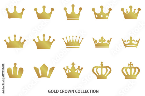 Leinwand Poster Gold crown icon collection