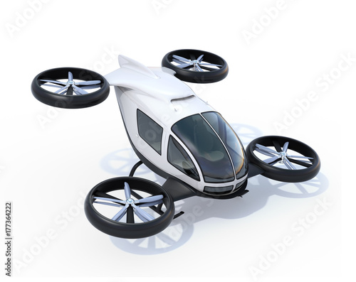 Tuinposter Helicopter White self-driving passenger drones isolated on white background. 3D rendering image.