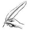 Leinwanddruck Bild - Hand writing with a quill