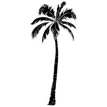 Black Vector Single Palm Tree ...
