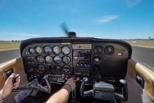 Cockpit Of Small Cessna Aircra...