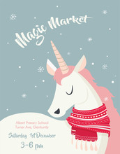 Magical Unicorn At Winter Scine. Merry Christmas And Happy New Year