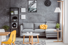 Gray Decor And Yellow Accessories