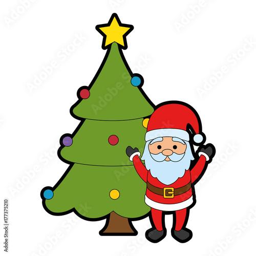 Spoed Fotobehang Voor kinderen merry christmas pine tree with santa claus character