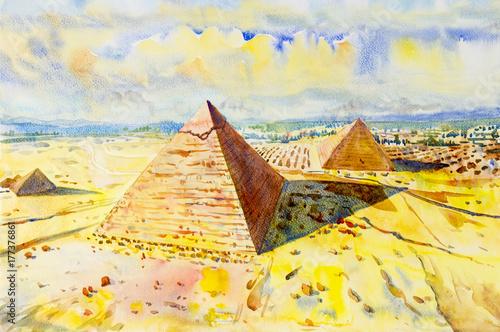 Poster Jaune The Great pyramid with desert in Giza, Egypt