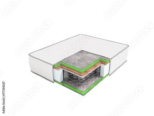 Modern orthopedic mattress white dismantled in a section