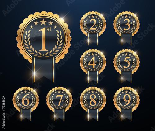 Award golden label of First, second and third winner Fototapeta