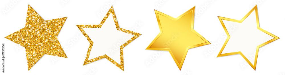 Fototapety, obrazy: 4 Stars Sparkling Shining Golden