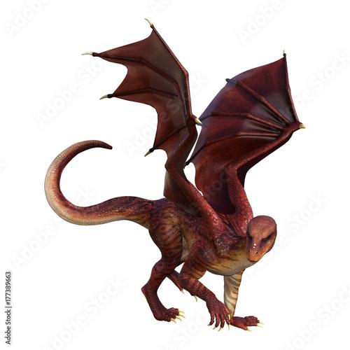 Plakat 3D Rendering Fantasy Dragon na białym tle