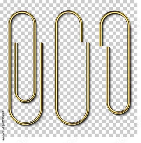 Fotomural Metal gold paperclips isolated and attached to white paper isolated on transpare