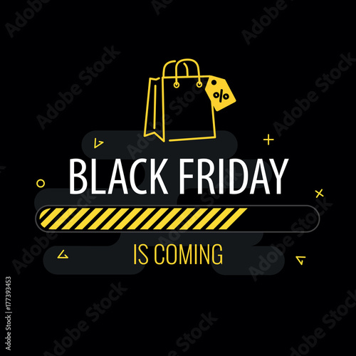 09be6ccc4b9e Black friday is coming. Progress bar and shopping bag on black background.