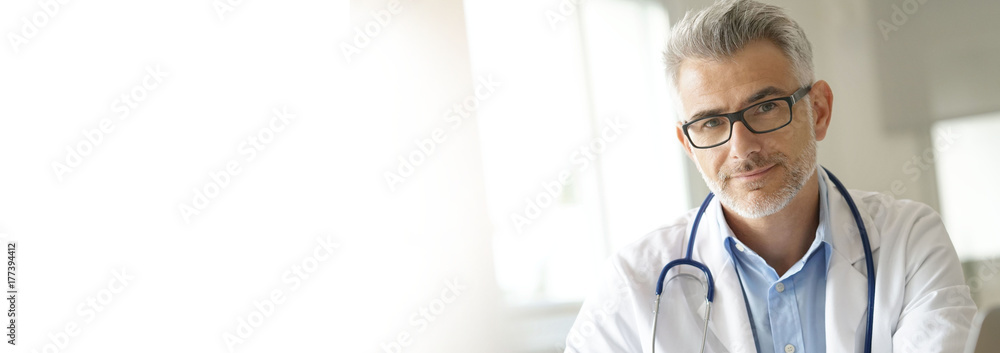 Fototapety, obrazy: Portrait of doctor in office- template