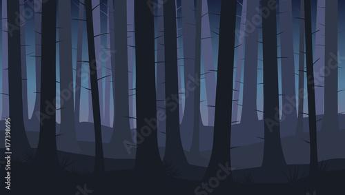 Krajobraz z sylwetkami niebieskich drzew w lesie ciemnej nocy - ilustracji wektorowych