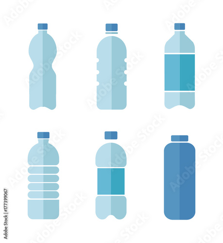 Valokuva  Blue vector flat design icons set of plastic bottles with clean water isolated o
