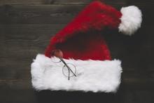 Santa Hat And Round Glasses
