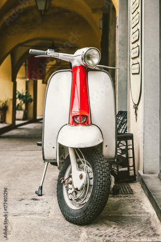 Classic Italian Scooter Parked in an Alleyway