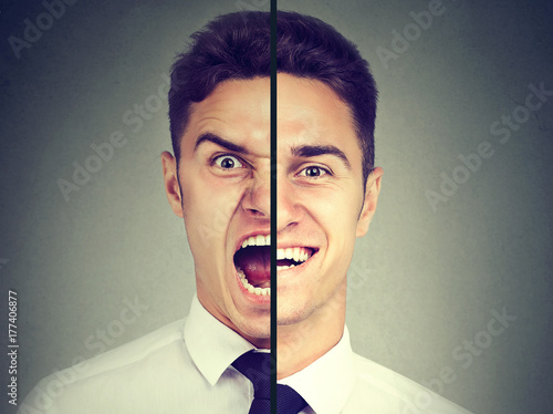 Fotomural Bipolar disorder. Business man with double face expression