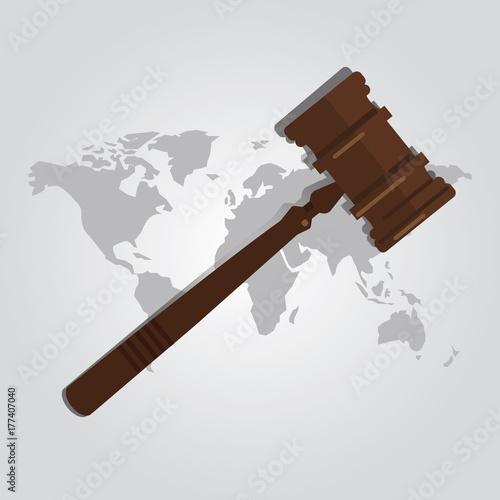 Photo international law arbitration prosecution jurisdiction country world map wooden
